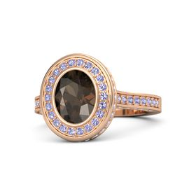 Oval Smoky Quartz 18K Rose Gold Ring with Tanzanite