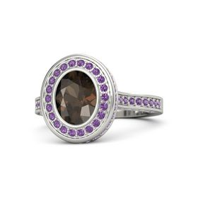 Oval Smoky Quartz Platinum Ring with Amethyst