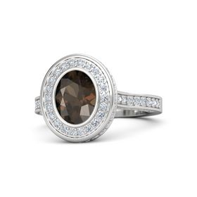 Oval Smoky Quartz Sterling Silver Ring with Diamond