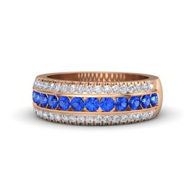 14K Rose Gold Ring with Sapphire & Diamond