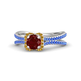 Round Ruby Sterling Silver Ring with Citrine & Sapphire