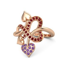 14K Rose Gold Ring with Amethyst and Ruby