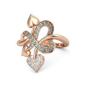 14K Rose Gold Ring with Diamond & London Blue Topaz