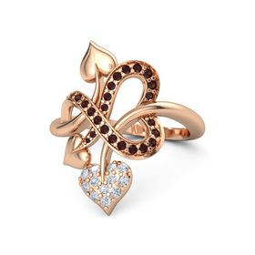 14K Rose Gold Ring with Diamond & Red Garnet
