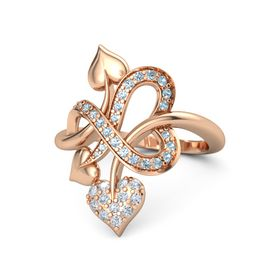 14K Rose Gold Ring with Diamond and Aquamarine
