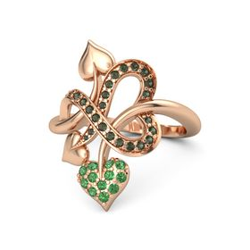 14K Rose Gold Ring with Emerald and Green Tourmaline