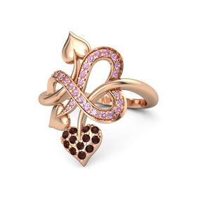 14K Rose Gold Ring with Red Garnet and Pink Tourmaline