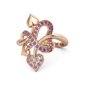 14K Rose Gold Ring with Rhodolite Garnet and Amethyst