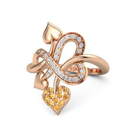 14K Rose Gold Ring with Citrine & Diamond