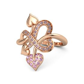 14K Rose Gold Ring with Pink Sapphire & Rhodolite Garnet