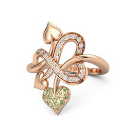 14K Rose Gold Ring with Peridot and White Sapphire