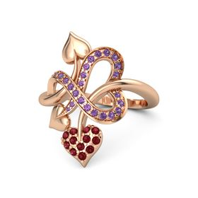 14K Rose Gold Ring with Ruby and Amethyst