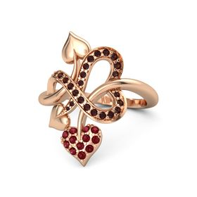 14K Rose Gold Ring with Ruby & Red Garnet