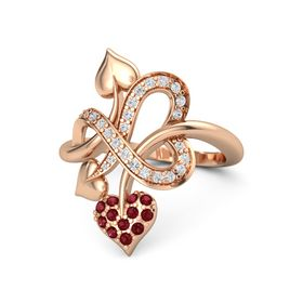 14K Rose Gold Ring with Ruby & White Sapphire