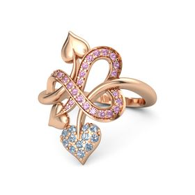 14K Rose Gold Ring with Blue Topaz and Pink Tourmaline