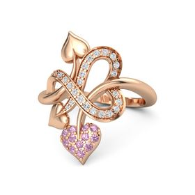 14K Rose Gold Ring with Pink Tourmaline & White Sapphire