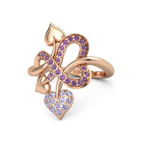 14K Rose Gold Ring with Tanzanite & Amethyst