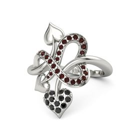 14K White Gold Ring with Black Diamond and Red Garnet