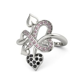 14K White Gold Ring with Black Diamond & Rhodolite Garnet