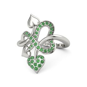 14K White Gold Ring with Emerald