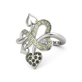 14K White Gold Ring with Green Tourmaline & Peridot