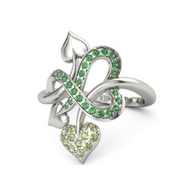 14K White Gold Ring with Peridot and Emerald