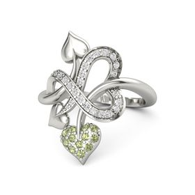 14K White Gold Ring with Peridot & White Sapphire