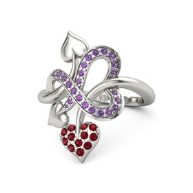 14K White Gold Ring with Ruby & Amethyst