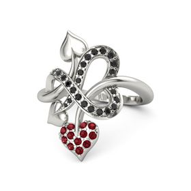 14K White Gold Ring with Ruby & Black Diamond