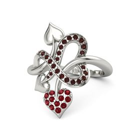14K White Gold Ring with Ruby and Red Garnet