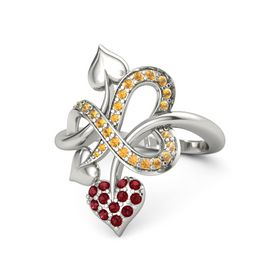 14K White Gold Ring with Ruby & Citrine