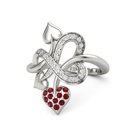 14K White Gold Ring with Ruby & White Sapphire