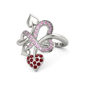14K White Gold Ring with Ruby & Pink Tourmaline