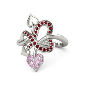 14K White Gold Ring with Pink Tourmaline & Ruby