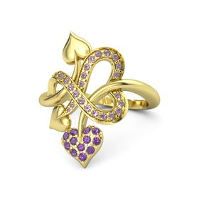 14K Yellow Gold Ring with Amethyst & Rhodolite Garnet