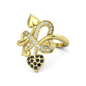 14K Yellow Gold Ring with Black Diamond and Diamond