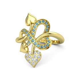 14K Yellow Gold Ring with Diamond and London Blue Topaz