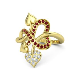 14K Yellow Gold Ring with Diamond & Ruby