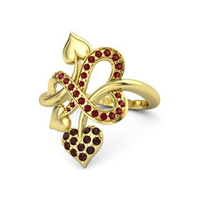 14K Yellow Gold Ring with Red Garnet & Ruby