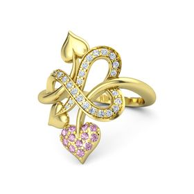 14K Yellow Gold Ring with Pink Sapphire & Diamond