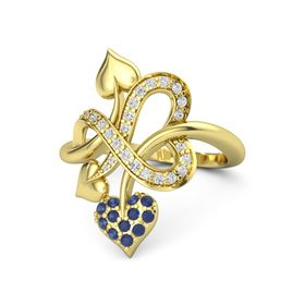 14K Yellow Gold Ring with Sapphire & White Sapphire