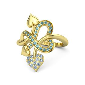 14K Yellow Gold Ring with Blue Topaz & London Blue Topaz