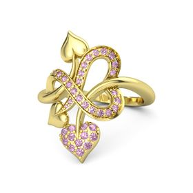 14K Yellow Gold Ring with Pink Tourmaline & Pink Sapphire