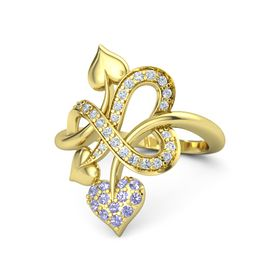 14K Yellow Gold Ring with Tanzanite & Diamond