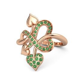 18K Rose Gold Ring with Emerald