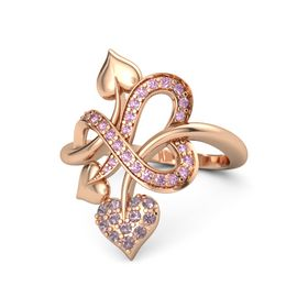 18K Rose Gold Ring with Rhodolite Garnet and Pink Sapphire