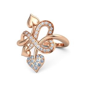 18K Rose Gold Ring with Blue Topaz & Diamond