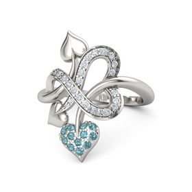 18K White Gold Ring with London Blue Topaz and Diamond