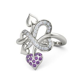 18K White Gold Ring with Amethyst & Diamond