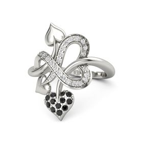 18K White Gold Ring with Black Diamond & White Sapphire
